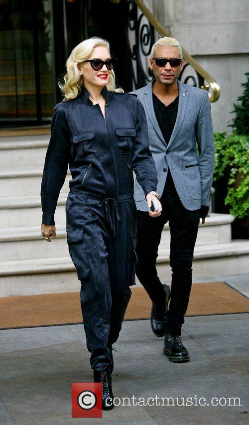 Gwen Stefani and Tony Kanal leaving their hotel...