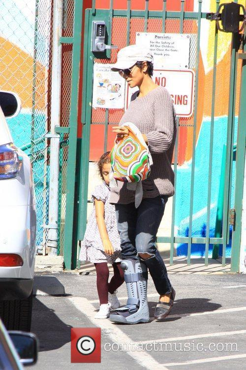 Halle Berry collects her daughter Nahla Aubry from...