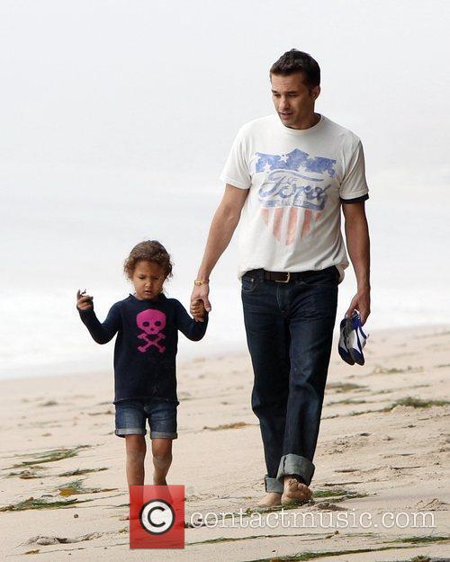 Olivier Martinez and Nahla Aubry walk along Malibu...