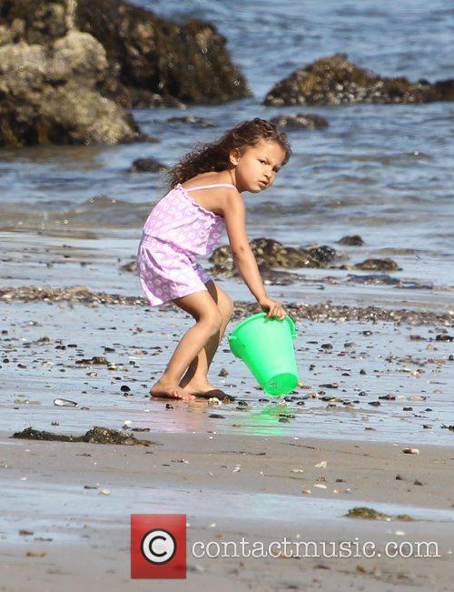 Halle Berry's daughter Nahla Aubry plays on Malibu...