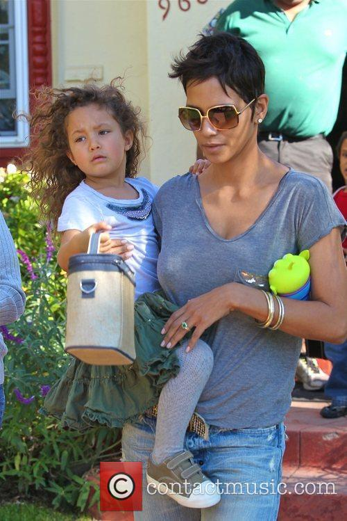 Halle Berry picking up her daughter Nahla from...