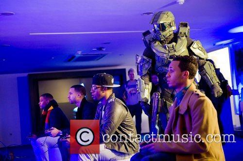 JLS play the game at the launch of...