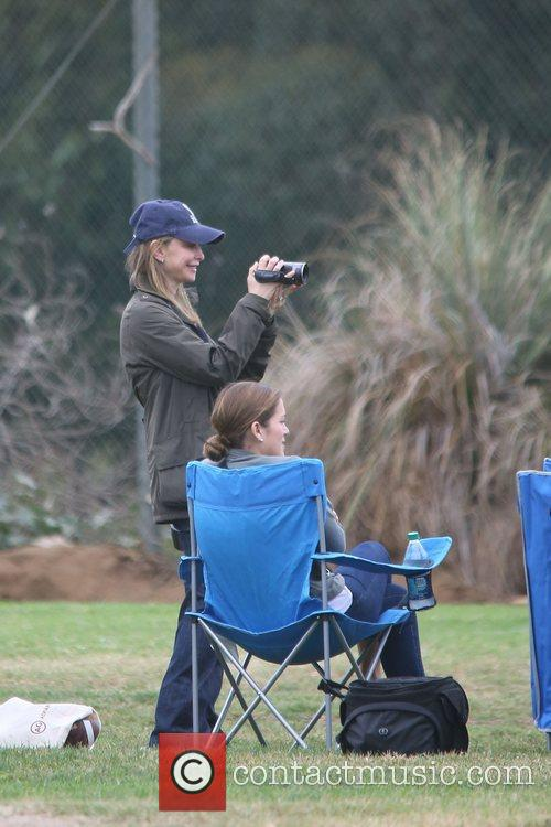 Calista Flockhart spends the day at a park...