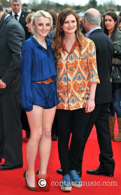 Evanna Lynch and Bonnie Wright
