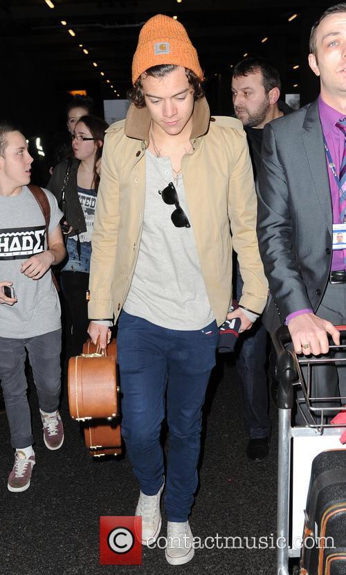 Harry Styles Harry Styles arrives at Heathrow Airport...