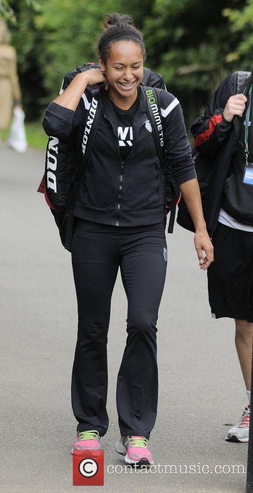 Heather Watson arriving at the All England Club...