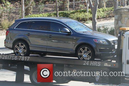 Heidi Klum's Audi Q7 car is towed from...