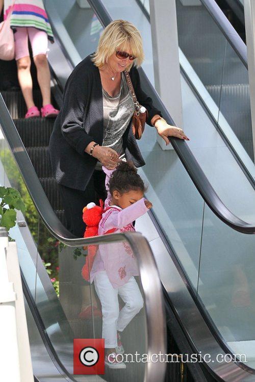 Erna Klum and Lou Sulola are seen leaving...