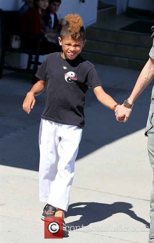 Henry Samuel is seen heading to karate class...