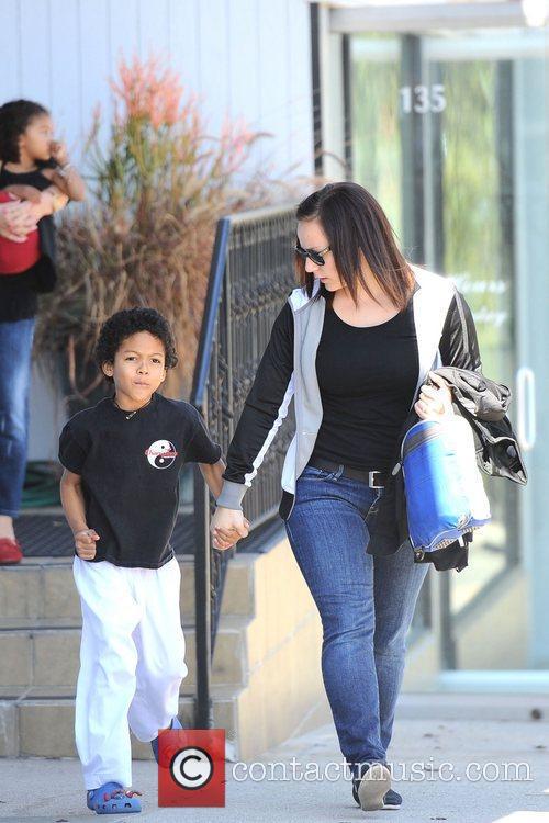 Johan Samuel is seen heading to karate class...