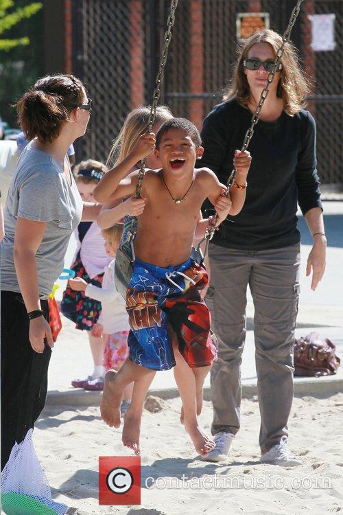 Heidi Klum with her children on a family...