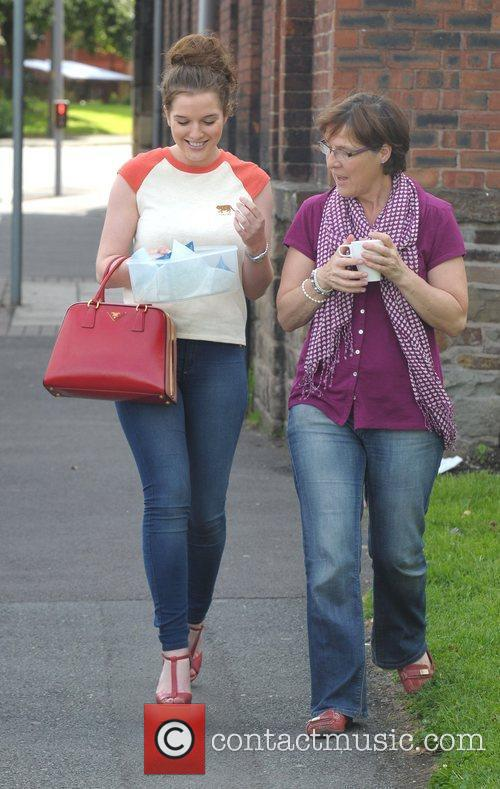 Helen Flanagan and her mother leaving Helen's sister...