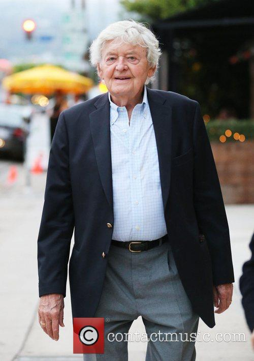 Hal Holbrook leaving Pizzeria Il Fico on Robertson...