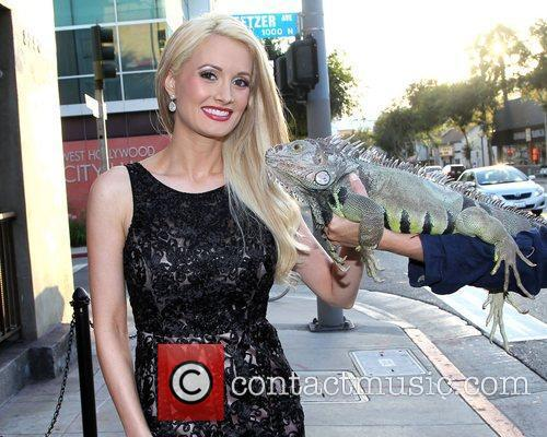 Holly Madison makes a new friend outside Hamburger...