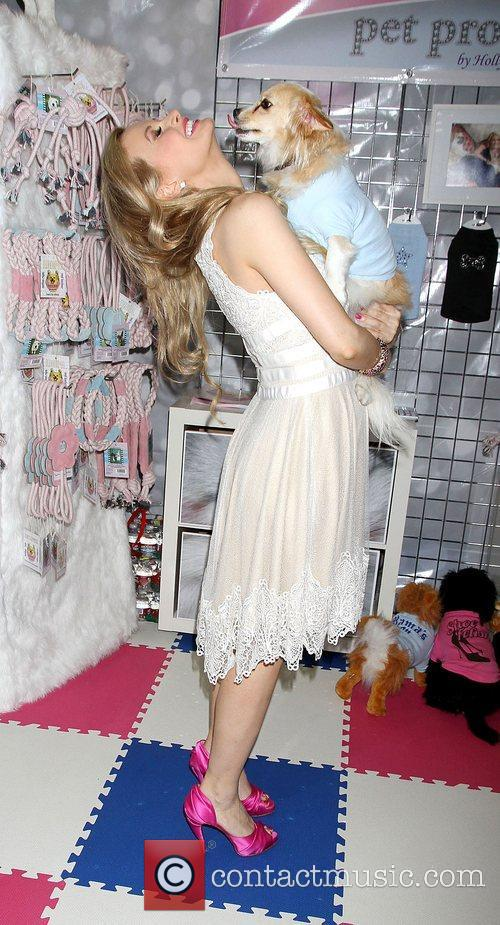Holly Madison promoting her new line of dog...