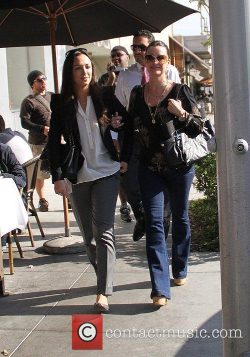 Kyle Richards leaves Il Pastaio restaurant in Beverly...