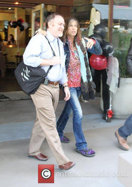 Steven Tyler leaves the Newsroom cafe Hollywood, California