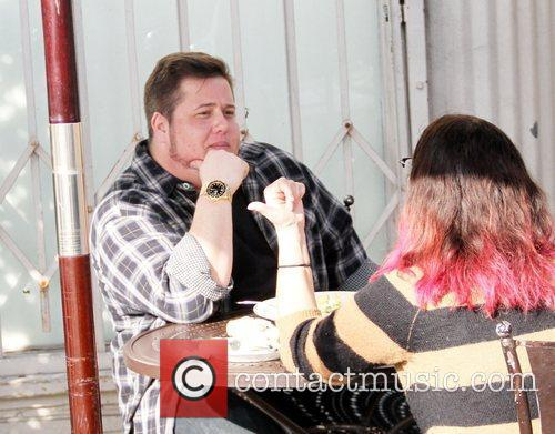Chaz Bono has lunch with a friend at...