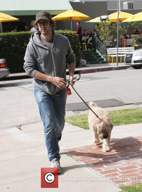 Josh Groban walks his dog in Hollywood