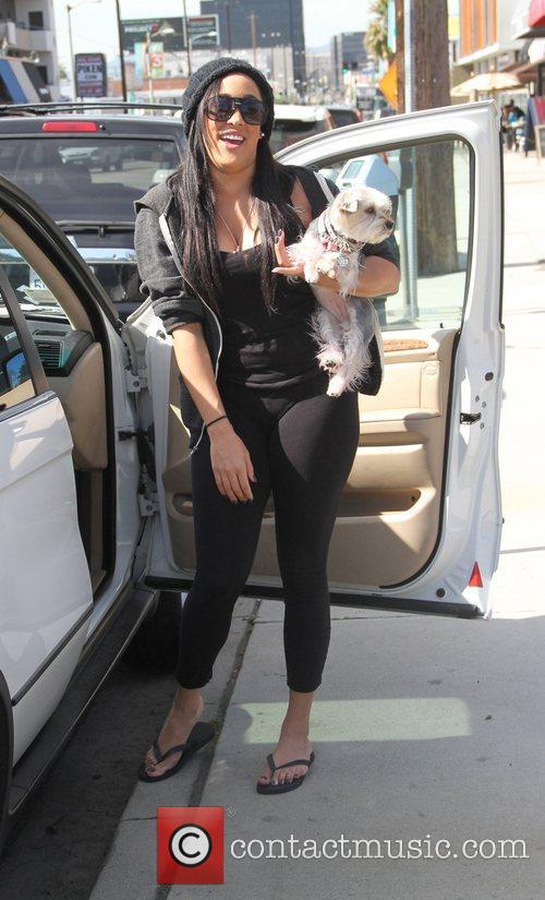 Natalie Nunn out and about with her dog...