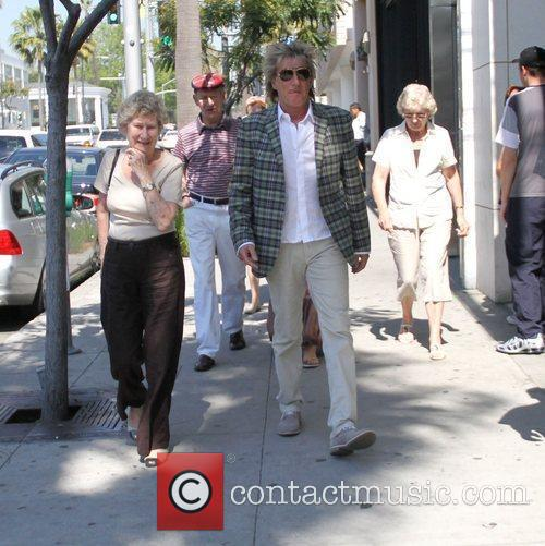 Rod Stewart shopping with family members in Beverly...