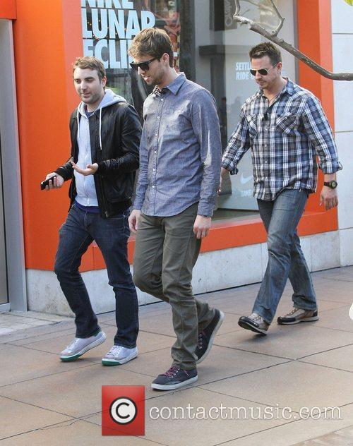 Jon Heder and friends are seen walking through...