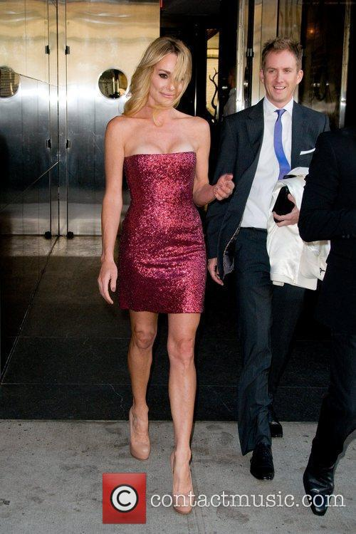 Taylor Armstrong  leaving a Manhattan hotel ahead...