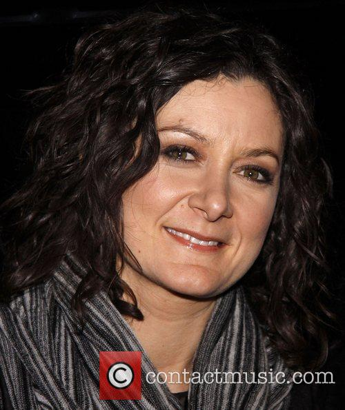 Host Sara Gilbert attending a performance of 'Hugh...