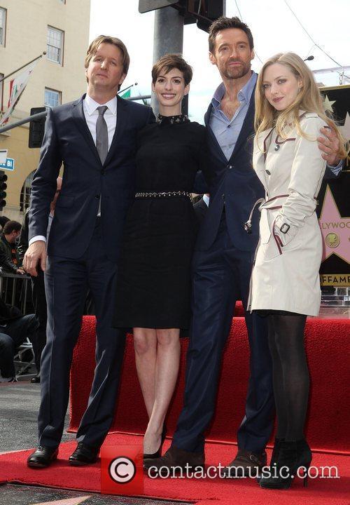 Tom Hooper, Anne Hathaway, Hugh Jackman and Amanda Seyfried 3