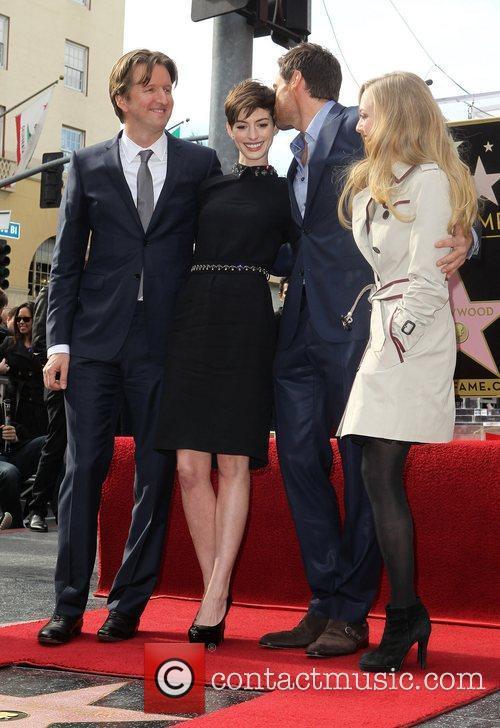 Tom Hooper, Anne Hathaway, Hugh Jackman and Amanda Seyfried 1
