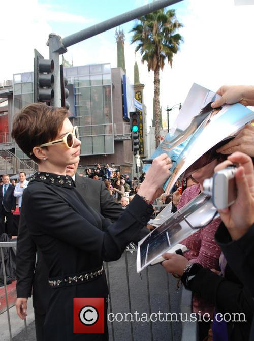 Anne Hathaway Hugh Jackman's Hollywood Star ceremony on...