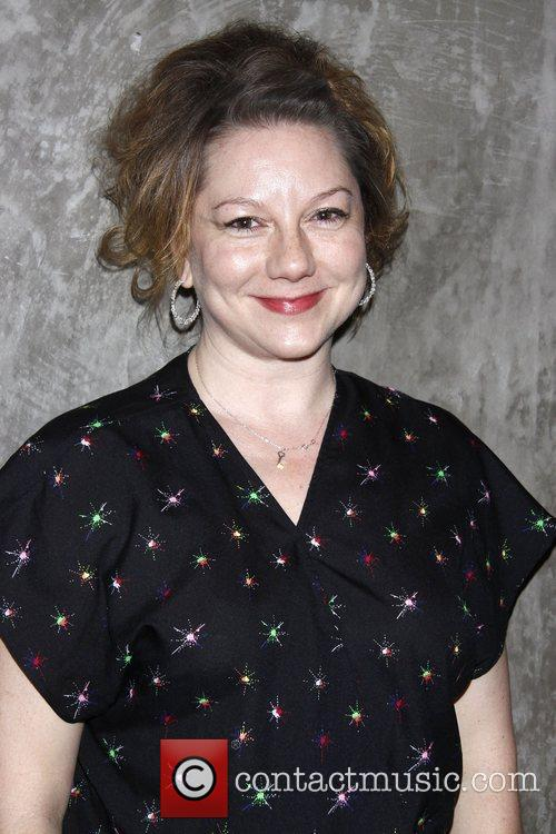 Amy Warren attending a celebration for the Off-Broadway...