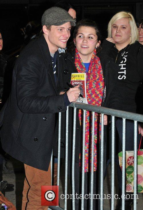 Hunter Parrish signs autographs for fans outside Godspell...