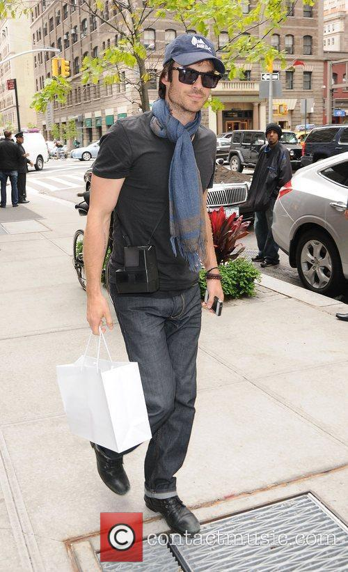 Ian Somerhalder outside his hotel in Soho. New...