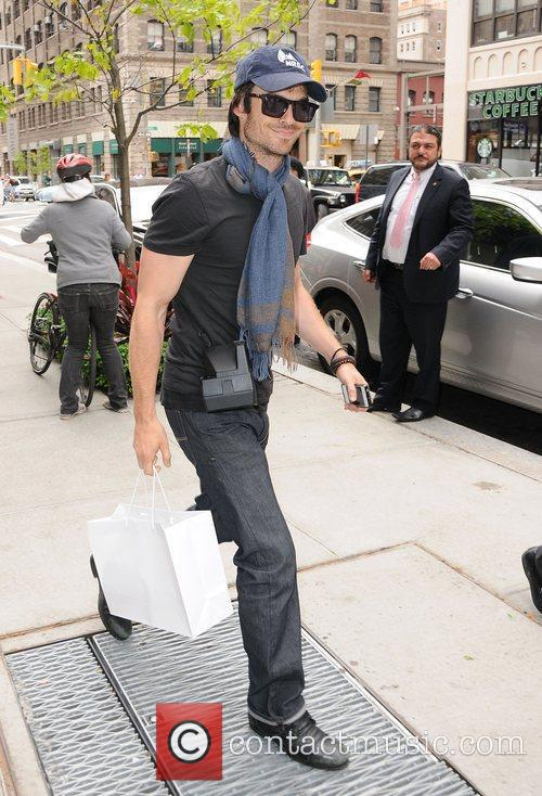 Ian Somerhalder outside his hotel in Soho.
