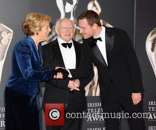 Michael Fassbender with Michael D Higgins and Sabina...