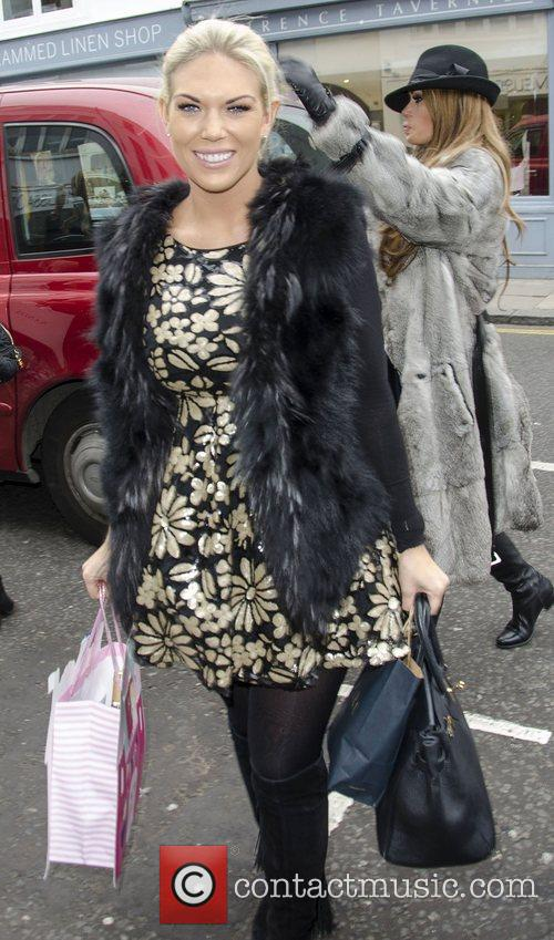 Arriving at Imogen Thomas' baby shower in London
