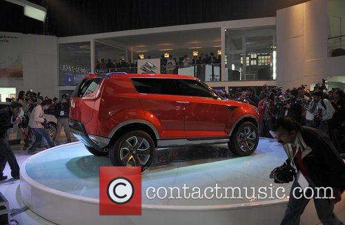Newly XA-alpha concept SUV car on ramp at...