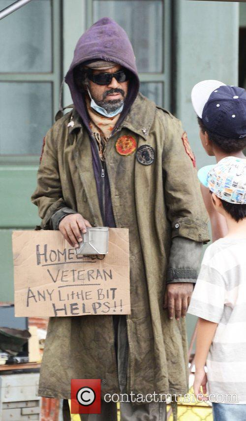 Jeffrey Wright dressed as a homeless veteran on...