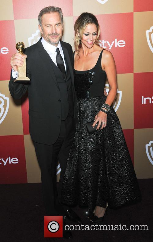 Kevin  Costner; Christine Baumgartner InStyle And Warner...