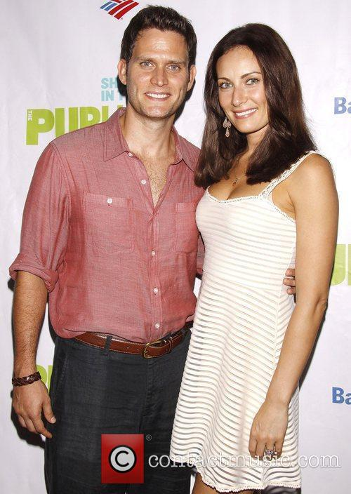 Steven Pasquale and Laura Benanti Opening night of...