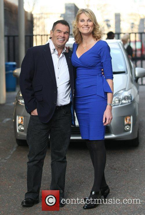 Paddy Doherty and Sally Bercow outside the ITV...