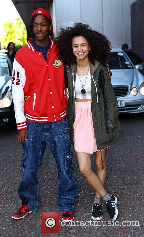 Henrique Costa and Jasmine Breinburg outside the ITV...