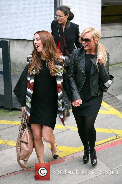 Emma Bunton and Mel C outside the ITV...