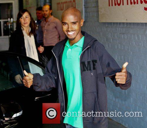 Mo Farah outside the ITV studios London, England