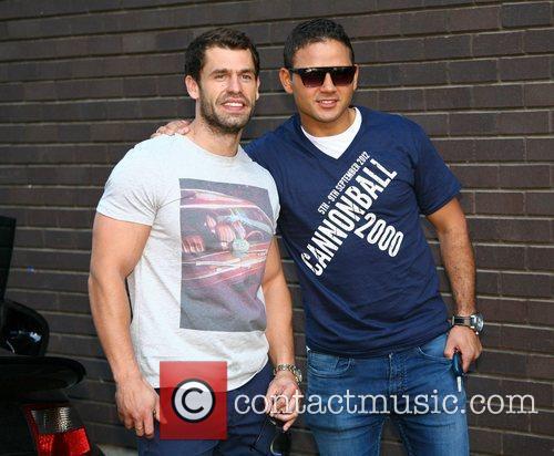 Kelvin Fletcher and Ryan Thomas outside the ITV...