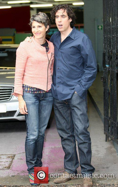 stephen mangan and tamsin greig outside the 3974125