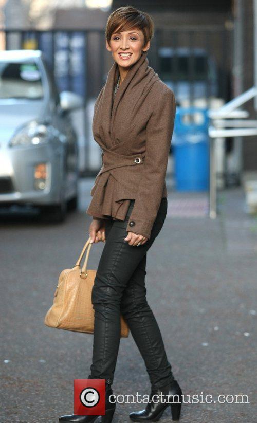 Lucy-Jo Hudson leaves the ITV studios London, England
