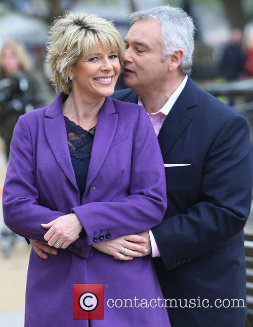 Eamon Holmes and Ruth Langsford filming outside the...