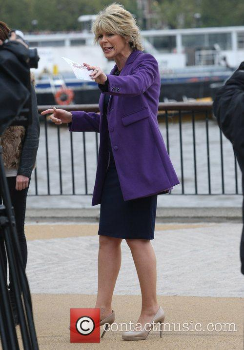 Ruth Langsford filming outside the ITV Studios London,...